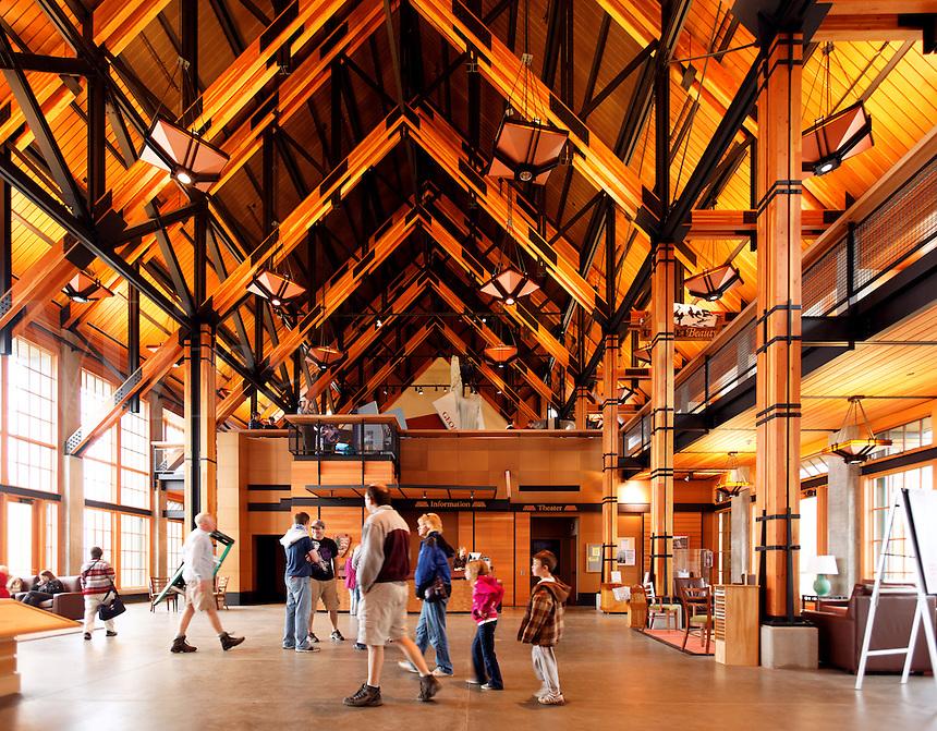 Interior of new (circ 2008) Henry M Jackson Visitor Center, Paradise, Mount Rainier National Park, Washington, USA