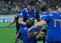 French players celebrate France's Pierre Bourgarit's try before it was disallowed during the Steinlager Series international rugby match between the New Zealand All Blacks and France at Westpac Stadium in Wellington, New Zealand on Saturday, 16 June 2018. Photo: Dave Lintott / lintottphoto.co.nz