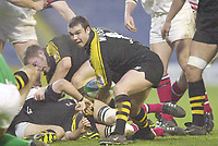 London. Great Britain. Wasps, Martin Wood moves the out from the ruck.  during the Heineken Cup. London Wasps v Ulster Match, played at Loftus Road, West London. 06/01/2002.  [Mandatory Credit;  Peter Spurrier/Intersport Images]..