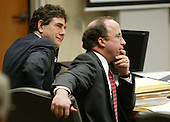 Defense attorneys Peter Greenspun, right, and Jonathan Shapiro, left, listen to arguments in the trial of sniper suspect John Allen Muhammad in Virginia Beach Circuit Court in Virginia Beach, Virginia on November 9, 2003. <br /> Credit: Tracy Woodward - Pool via CNP
