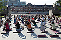 Yoga event in front of Tokyo Station