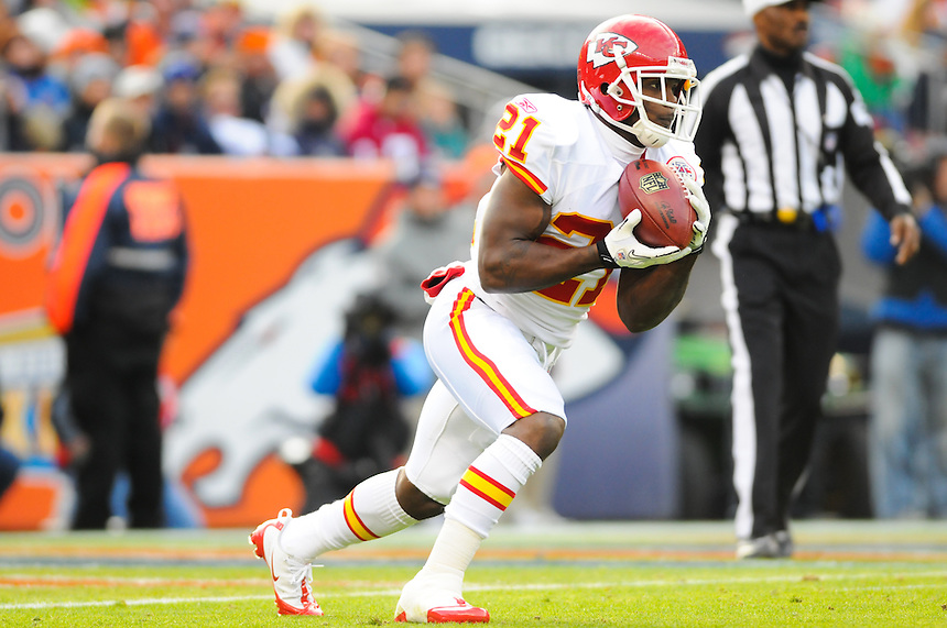 14 NOVEMBER 2010:   Javier Arenas #21 of the Kansas City Chiefs receives a kick off during a regular season National Football League game between the Kansas City Chiefs and the Denver Broncos at Invesco Field at Mile High in Denver, Colorado. The Broncos beat the Chiefs 49-29.