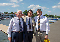 """Henley on Thames, United Kingdom, 3rd July 2018, Saturday,  """"Henley Royal Regatta"""",  Left Bill BARRY, Centre Husein ALIREZA, Right Alan CAMPBELL, View, Henley Reach, River Thames, Thames Valley, England, UK."""