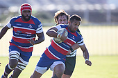 Sailosi Vatubua breaks past Sandro Jelia. Counties Manukau Premier Club Rugby 'Game of the Week' between Ardmore Marist and Manurewa played at Bruce Pulman Park Papakura or Saturday May 4th 2019. Ardmore Marist won the game 34 - 25 after leading 21 - 6 at halftime. <br /> Photo by Richard Spranger.
