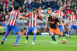 "Atletico de Madrid's Stefan Savic, Lucas Hernández and Gabriel ""Gabi"" Fernández and Valencia CF's Simone Zaza during La Liga match between Atletico de Madrid and Valencia CF at Vicente Calderon Stadium  in Madrid, Spain. March 05, 2017. (ALTERPHOTOS/BorjaB.Hojas)"