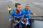 FC Luzern v St Johnstone...16.07.14  Europa League 2nd Round Qualifier<br /> Stevie May and Lee Croft board the aircraft for Basel in Switzerland<br /> Picture by Graeme Hart.<br /> Copyright Perthshire Picture Agency<br /> Tel: 01738 623350  Mobile: 07990 594431