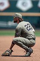 Vanderbilt Commodores first baseman Julian Infante (22) on defense during Game 3 of the NCAA College World Series against the Louisville Cardinals on June 16, 2019 at TD Ameritrade Park in Omaha, Nebraska. Vanderbilt defeated Louisville 3-1. (Andrew Woolley/Four Seam Images)