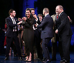 James Graham, Diane Paulus, Matthew Morrison, Gary Barlow and Harvey Weinstein during the Broadway Opening Night Performance curtain call for  'Finding Neverland'  at The Lunt-Fontanne  Theatre on April 15, 2015 in New York City.