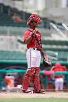 GCL Red Sox catcher Jonathan Diaz (7) signals to the defense during a game against the GCL Orioles on August 9, 2018 at JetBlue Park in Fort Myers, Florida.  GCL Red Sox defeated GCL Orioles 10-4.  (Mike Janes/Four Seam Images)