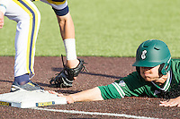 Eastern Michigan Hurons outfielder Drake Lubin (48) dives back to first base against the Michigan Wolverines on May 3, 2016 at Ray Fisher Stadium in Ann Arbor, Michigan. Michigan defeated Eastern Michigan 12-4. (Andrew Woolley/Four Seam Images)