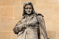 Statue of Denis Papin, physicist,1647-1714, by Jean-Francois Soitoux in the Beauvais Rotonde, in the Cour Napoleon at the Musee du Louvre, Paris, France. A series of 86 statues of famous men were placed in this courtyard 1853-57 under the architects Louis Visconti and Hector Lefuel. Picture by Manuel Cohen