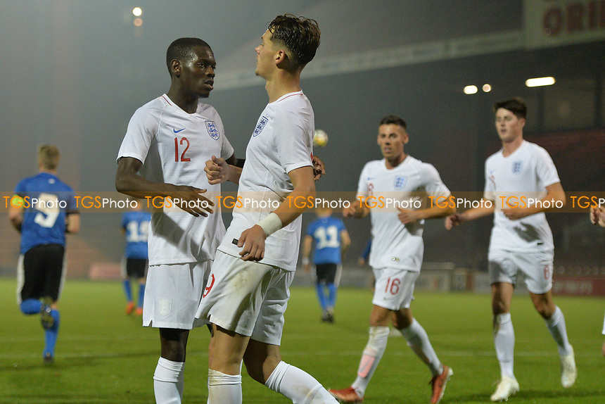 Alfie Pavey Of England C and Havant & Waterlooville FC scores the first Goal and celebrates during England C vs Estonia Under-23, International Friendly Match Football at The Breyer Group Stadium on 10th October 2018