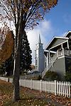 Saint Paul's church, Port Gamble Historic District, Kitsap Peninsula, Puget Sound, Washington State, Pacific Northwest, USA, 1800's small town architecture, autumn,