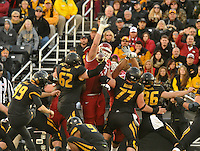 NWA Media/Michael Woods --11/28/2014-- w @NWAMICHAELW...University of Arkansas defenders Dan Skipper and Trey Flowers gets their hands up as the Arkansas defense blocks a Missouri field goal attempt in= the 3rd quarter of Friday afternoons game against Missouri at Faurot Field in Columbia Missouri.