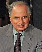 In this file photo from January 20, 2004, Doctor Ahmed Chalabi, Iraqi Governing Council is pictured as he joined first lady Laura Bush for United States President George W. Bush's 2004 State of the Union Address to a Joint Session of the United States Congress at the Capitol in Washington, DC.  Iraqi state media reported Chalabi passed away from a heart attack on November 3, 2015.  He was in his early 70s.<br /> Credit: Ron Sachs / CNP