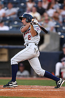 Binghamton Mets Second Baseman Joshua Satin (2) during a game vs. the Akron Aeros at Eastwood Field in Akron, Ohio;  June 25, 2010.   Binghamton defeated Akron 5-3.  Photo By Mike Janes/Four Seam Images