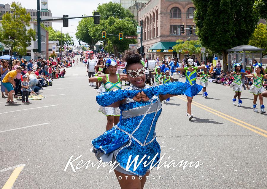 Washington Diamonds Drill Team, Colors of Freedom Parade, 4th of July, Everett, WA, USA.