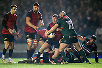 Dave Kilcoyne of Munster Rugby is tackled by Dan Cole of Leicester Tigers. European Rugby Champions Cup match, between Leicester Tigers and Munster Rugby on December 17, 2017 at Welford Road in Leicester, England. Photo by: Patrick Khachfe / JMP
