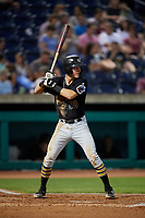 West Virginia Black Bears first baseman Kyle Watson (58) at bat during a game against the State College Spikes on August 30, 2018 at Medlar Field at Lubrano Park in State College, Pennsylvania.  West Virginia defeated State College 5-3.  (Mike Janes/Four Seam Images)