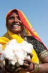 INDIEN Madhya Pradesh Khargone , Kooperative Shiv Krishi Utthan Sanstha vermarktet fairtrade und Biobaumwolle von Adivasi Farmern , Farmerin mit Biobaumwolle - INDIA Madhya Pradesh Khargone , tribal farmer of cooperative Shiv Krishi Utthan Sanstha produce fairtrade and organic cotton