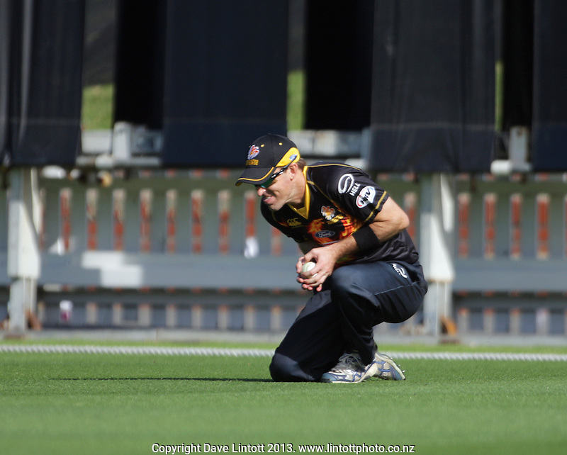 Cameron Borgas catches Michael Bracewell during the HRV Cup Twenty20 cricket match between the Wellington Firebirds and Otago Volts at Hawkins Finance Basin Reserve, Wellington, New Zealand on Friday, 11 January 2013. Photo: Dave Lintott / lintottphoto.co.nz