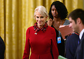 Senior Counselor Kellyanne Conway arrives prior to United States President Donald J. Trump and President Sergio Mattarella of the Italian Republic conducting a joint press conference in the East Room of the White House in Washington, DC on Wednesday, October 16, 2019.<br /> Credit: Ron Sachs / CNP