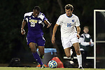 20 November 2014: North Carolina's Rob Lovejoy (16) and James Madison's Jamal Umar (20). The University of North Carolina Tar Heels hosted the James Madison University Dukes at Fetzer Field in Chapel Hill, NC in a 2014 NCAA Division I Men's Soccer Tournament First Round match. UNC won the game 6-0.