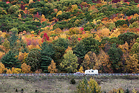 RV camper on an autumn road trip, Castleton, New York, USA