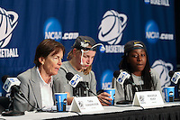 STANFORD, CA - April 1, 2014: Press conference after Stanford's 75-64 victory over UNC in the Stanford Regional Final of the 2014 NCAA Women's Basketball Tournament at Maples Pavilion.