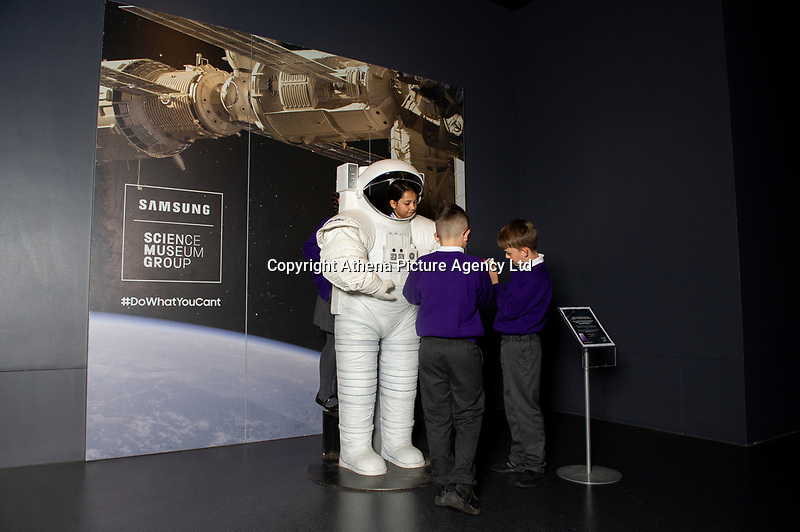 Pictured: A general view of Tim Peake's Spacecraft Exhibition that is being held at the National Museum Cardiff, Cardiff, South Wales, UK. Thursday 15 November 2018<br /> Re:
