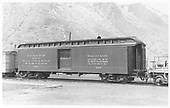 Baggage car #127 built by D&amp;RG as #28 in 1883.  Renumbered in 1885/1886.<br /> D&amp;RGW  Durango, CO  Taken by Maxwell, John W.