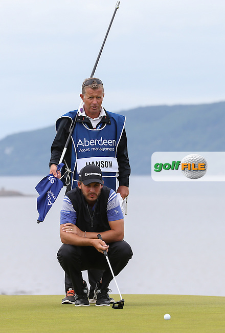 Chris Hanson (ENG) with caddie Steve Tooby during Round Three of the 2016 Aberdeen Asset Management Scottish Open, played at Castle Stuart Golf Club, Inverness, Scotland. 09/07/2016. Picture: David Lloyd | Golffile.<br /> <br /> All photos usage must carry mandatory copyright credit (&copy; Golffile | David Lloyd)