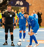 20191012 - HALLE: Halle-Gooik's Alessandro Patias is getting ready for a kick during the UEFA Futsal Champions League Main Round match between FP Halle-Gooik (BEL) and SL Benfica (POR) on 12th October 2019 at De Bres Sportcomplex, Halle, Belgium. PHOTO SPORTPIX | SEVIL OKTEM