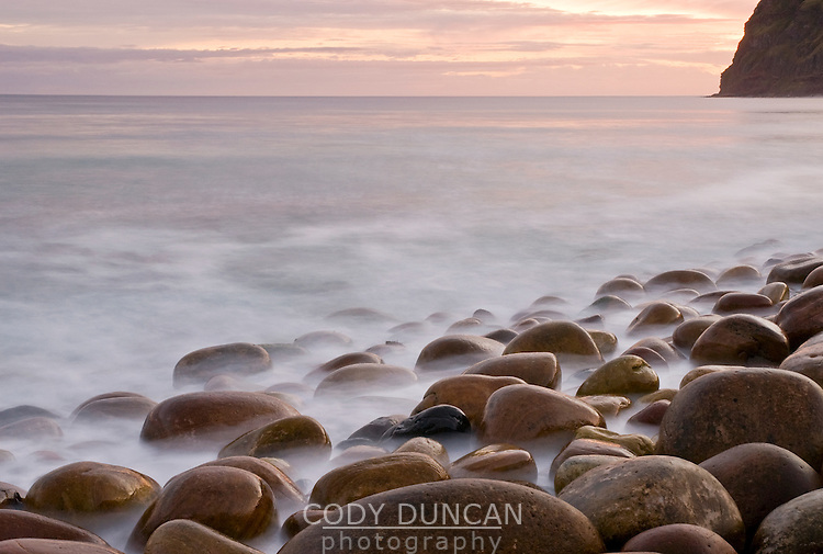 Sunset and ocean tide at Rackwick Bay, Hoy, Orkney, Scotland
