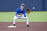 Indiana State Sycamores shortstop Clay Dungan (6) waits for a throw at second base against the Michigan Wolverines on April 10, 2019 in the NCAA baseball game at Ray Fisher Stadium in Ann Arbor, Michigan. Michigan defeated Indiana State 6-4. (Andrew Woolley/Four Seam Images)