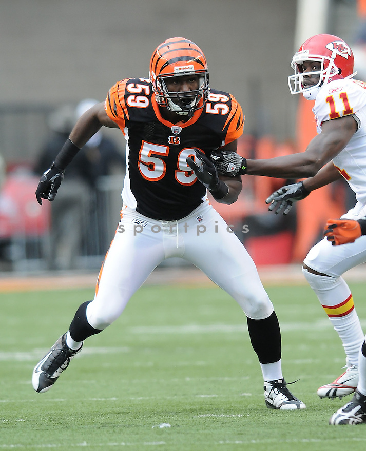 BRANDON JOHNSON, of the Cincinnati Bengals, in action during the Bengals game against the Kansas City Chiefs on December 27, 2009 in Cincinnati, OH. Bengals won 17-10.
