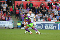 Niclas Eliasson of Bristol City battles with Connor Roberts of Swansea City during the Sky Bet Championship match between Swansea City and Bristol City at the Liberty Stadium, Swansea, Wales, UK. Saturday 25 August 2018