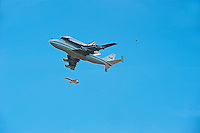 Space shuttle Endeavour over Los Angeles CA