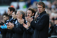 Graham Potter Manager of Swansea City applauds for the late Gordon Banks during the FA Cup Fifth Round match between Swansea City and Brentford at the Liberty Stadium in Swansea, Wales, UK. Sunday 17 February 2019