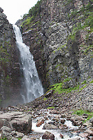 Wasserfall, Wasser, Bach, Gebirgsbach, Njupeskär, Nationalpark Fulufjället, Fulufjällets nationalpark, Fulufjäll, Schweden. Stream, cascade, waterfall, downfall, water, rivulet in the mountains, Fulufjället National Park, Sweden