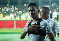PEREIRA - COLOMBIA, 10-06-2019: Rafael Navarro del Pereira celebra como campeón del Torneo Águila 2019 I después del partido entre Deportivo Pereira y Cortuluá por la final vuelta jugado en el estadio Hernán Ramírez Villegas de la ciudad de Pereira. / Rafael Navarro of Pereira celebrates as champion of the Aguila Tournament 2019 I after second leg final match between Deportivo Pereira and Cotulua for played at the Hernan Ramirez Villegas stadium in Pereira city.  Photo: VizzorImage/ Juan Torres / Cont