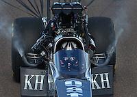 Feb 23, 2014; Chandler, AZ, USA; NHRA top fuel dragster driver Shawn Langdon during the Carquest Auto Parts Nationals at Wild Horse Motorsports Park. Mandatory Credit: Mark J. Rebilas-USA TODAY Sports