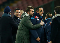 Napoli's coach  Maurizio Sarri during the Quartef-final of Tim Cup soccer match,between SSC Napoli and vFC Inter    at  the San  Paolo   stadium in Naples  Italy , January 19, 2016
