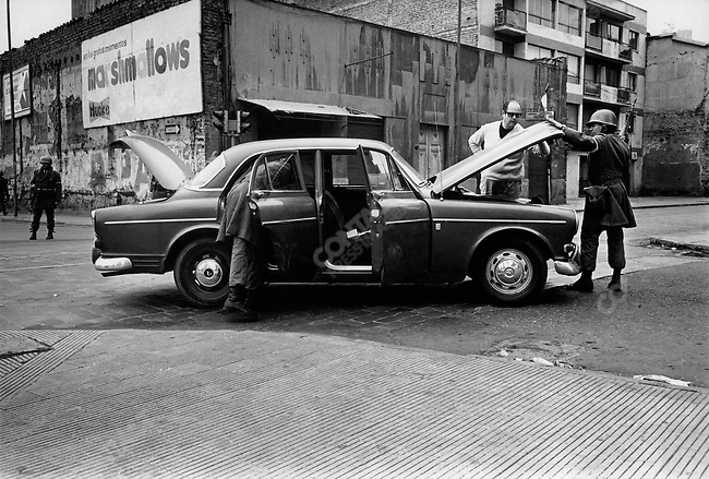 Military checking-point, in the aftermath of the coup, Santiago, Chile, September 1973