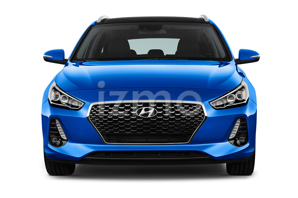 Car photography straight front view of a 2018 Hyundai i30 Sky 5 Door Wagon