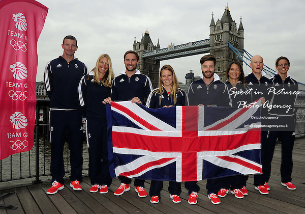 (l to r) Giles Scott (Finn), Saskia Clark (470 Women), Elliot Willis (470 Men), Hannah Mills (470 women), Luke Patience (470 men), Bryony Shaw (RS:X women), Nick Thompson (Laser) and Alison Young (Laser radial women). First TeamGB athletes selected for Rio2016. Sailing. St Katherines Dock. London. England. UK. 09/09/2015. MANDATORY Credit Garry Bowden/SIPPA - NO UNAUTHORISED USE - 07837 394578