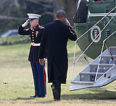 """United States President Barack Obama salutes the Marine Guard as he boards Marine One to depart the White House in Washington, DC on Thursday, March 3, 2016 enroute Milwaukee, Wisconsin. In Milwaukee, Obama will celebrate that city's winning in the """"Healthy Communities Challenge, """" a contest to increase enrollment people into the Health Insurance Marketplace. <br /> Credit: Chris Kleponis/ CNP"""