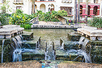 We capture this water feature along the river walk in San Antonio.  It was a nice image even had a bird stop by for a drink while we were shooting.