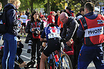 Chloe Dygert (USA) crosses the finish line in 4th place at the end of the Women Elite Road Race of the UCI World Championships 2019 running 149.4km from Bradford to Harrogate, England. 28th September 2019.<br /> Picture: Eoin Clarke | Cyclefile<br /> <br /> All photos usage must carry mandatory copyright credit (© Cyclefile | Eoin Clarke)