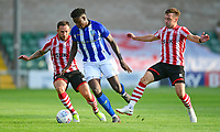 Sheffield Wednesday's Lucas Joao shields the ball from Lincoln City's Neal Eardley, left, and Lincoln City's Lee Frecklington<br /> <br /> Photographer Chris Vaughan/CameraSport<br /> <br /> Football Pre-Season Friendly - Lincoln City v Sheffield Wednesday - Friday 13th July 2018 - Sincil Bank - Lincoln<br /> <br /> World Copyright &copy; 2018 CameraSport. All rights reserved. 43 Linden Ave. Countesthorpe. Leicester. England. LE8 5PG - Tel: +44 (0) 116 277 4147 - admin@camerasport.com - www.camerasport.com